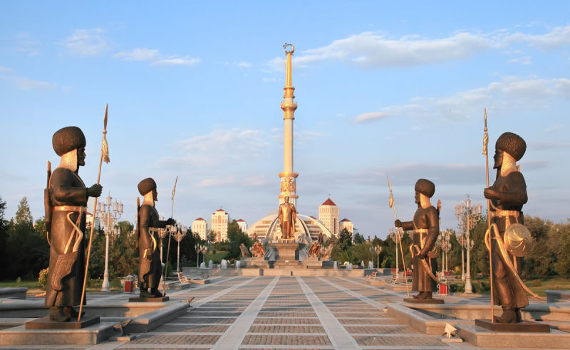 Independence Monument in Ashgabat in Turkmenistan