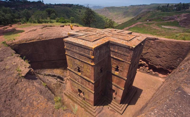 Kirche Bet Giyorgis in Lalibela im norden von Äthiopien