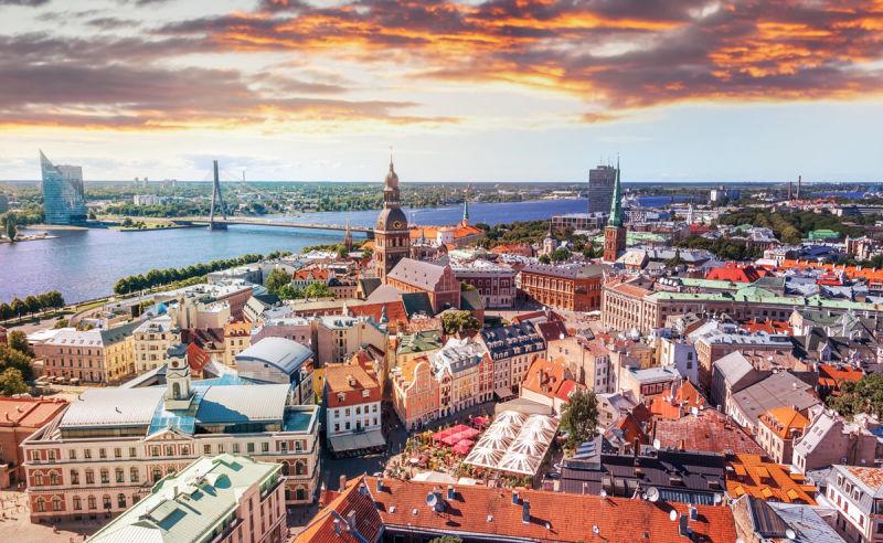 Panorama von der Kathedrale in Riga auf die Altstadt