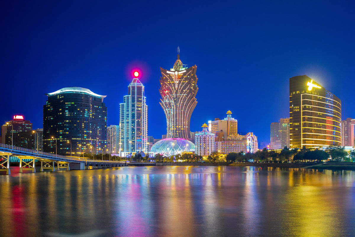 Skyline von Macau bei Nacht