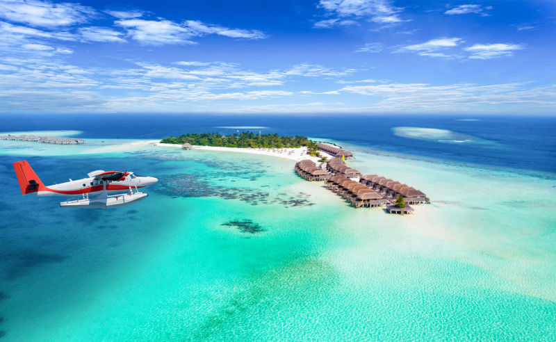 Türkisblaues Wasser auf den Malediven
