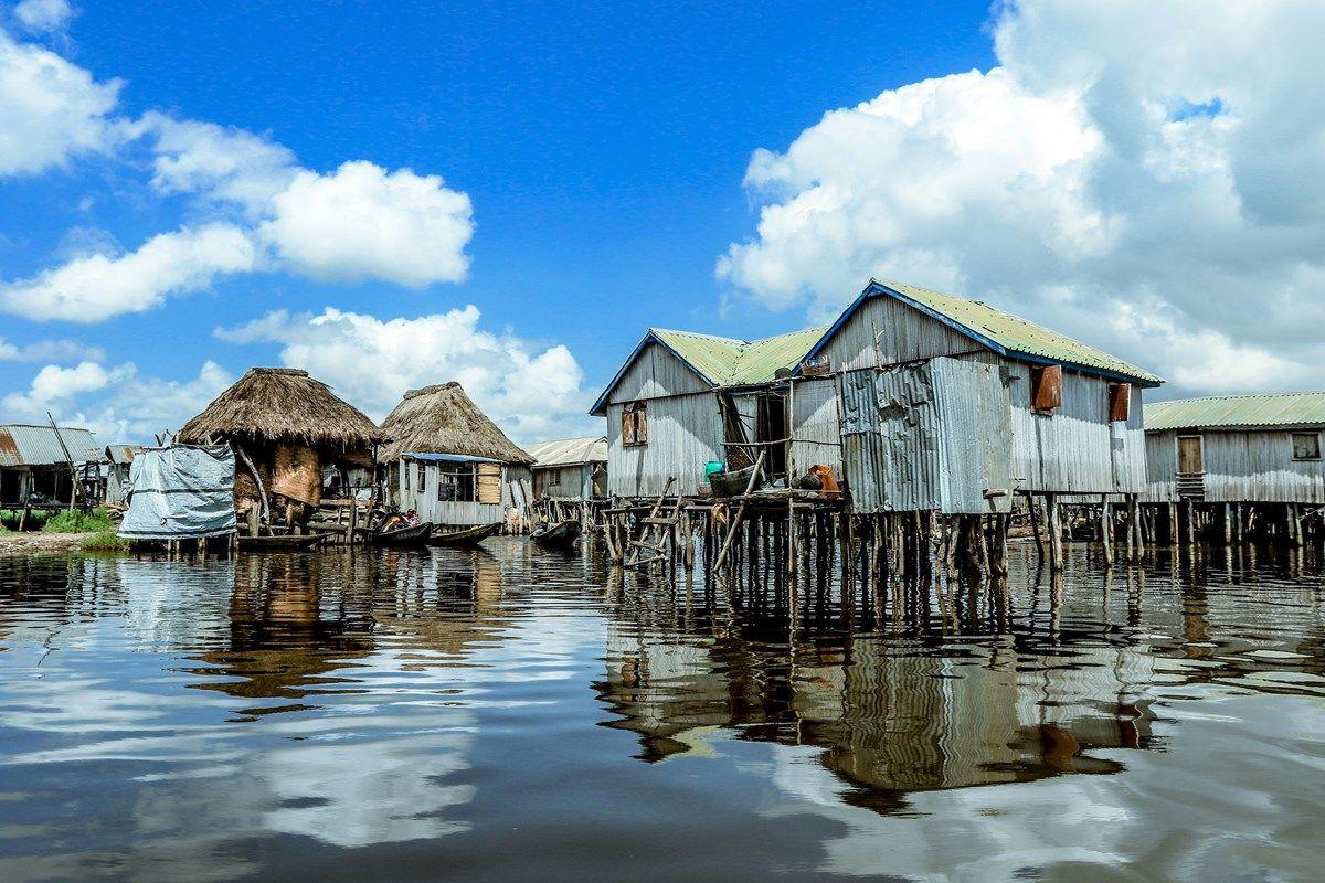 Häuser am Ganvié See in Benin