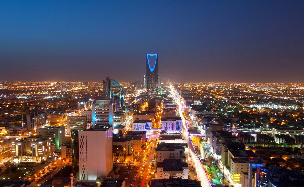 Skyline von Riad in Saudi-Arabien bei Nacht