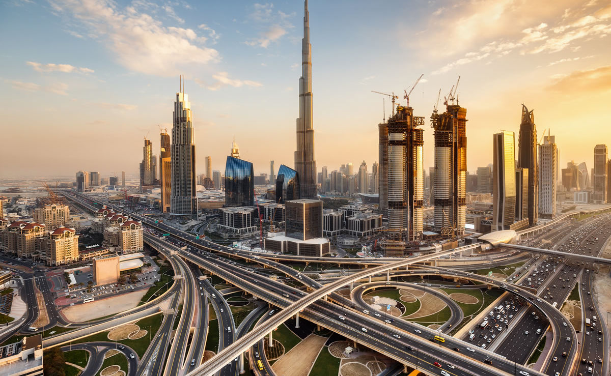 Skyline mit Burj Khalifa in Dubai