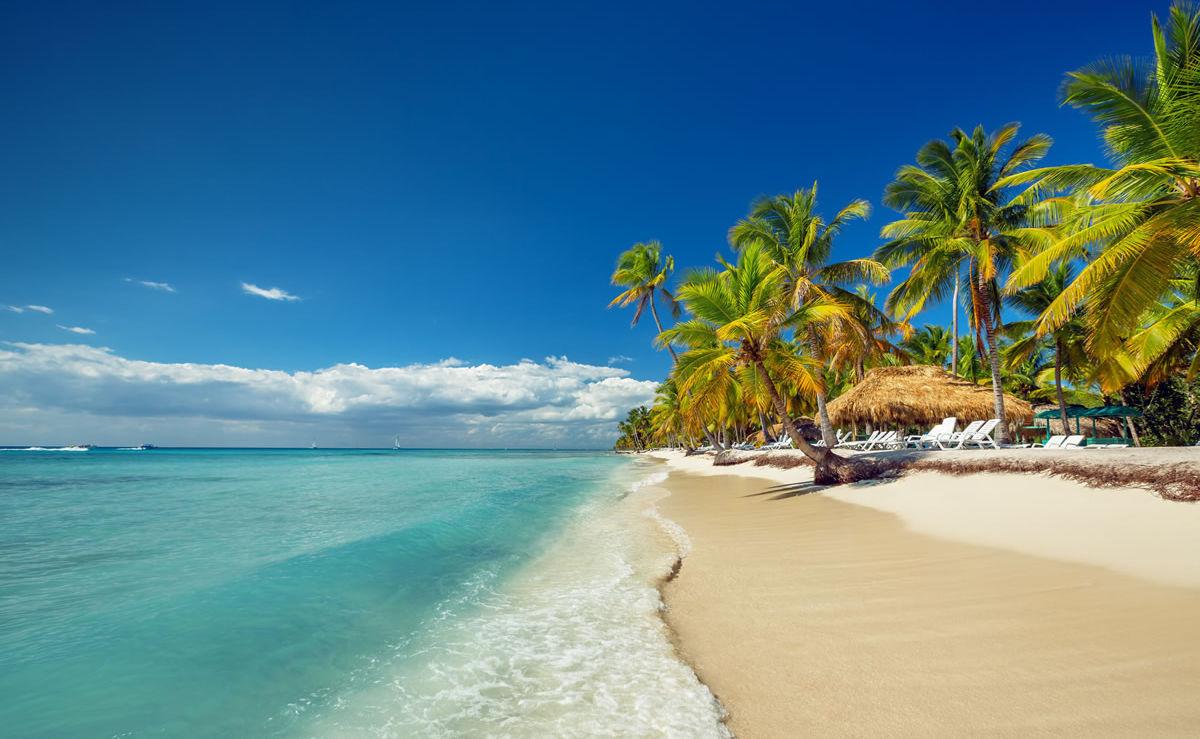Sandstrand und Palmen in der Dominikanische Republik